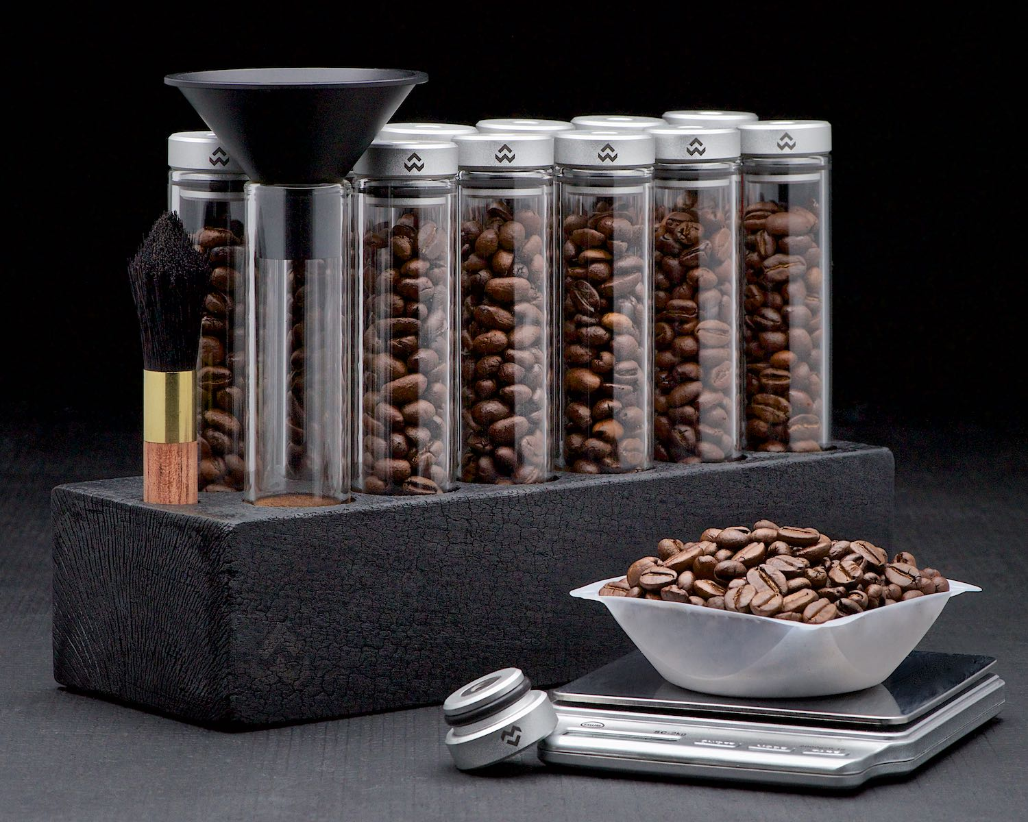 Espresso coffee beans single dose bean storage cellars on black background by Bret Doss Commercial Food & Product Photography  Seattle