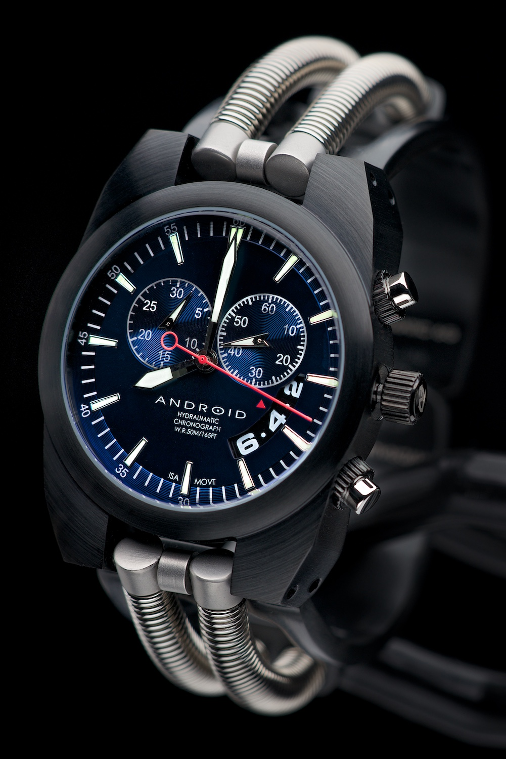 Android Hydraumatic Chronograph on black background by Bret Doss Commercial Product Photography Seattle